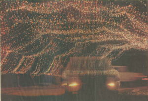 Car driving through a tunnel in the second year of TARC's Winter Wonderland